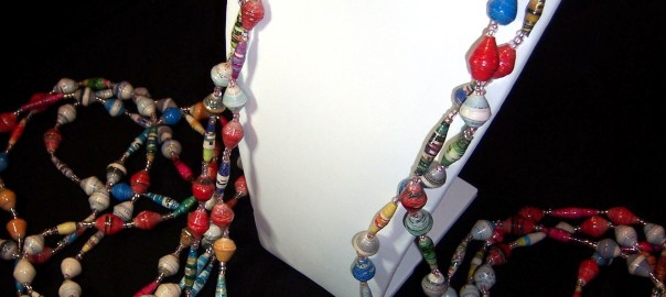 18 Ugandan Paper Bead Necklace - Long Multi-Colored